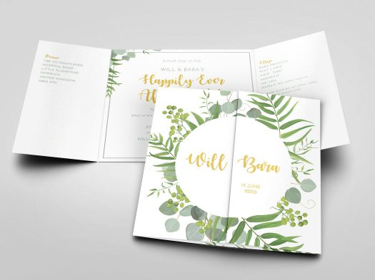 Gatefold wedding invite