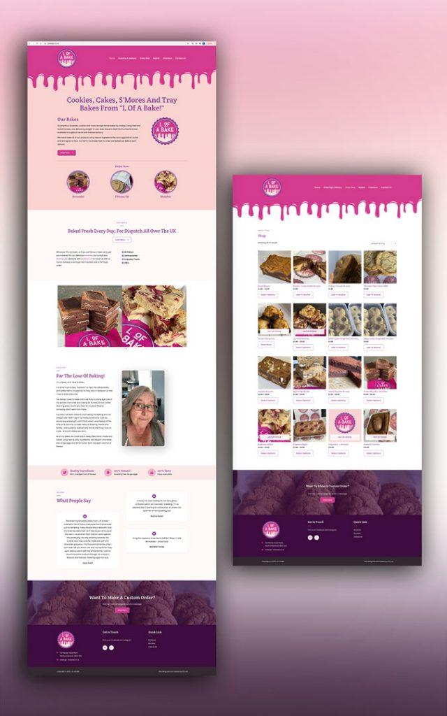 L of a bake website design for bakery